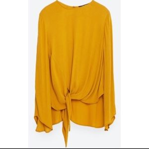 Yellow Zara Knot Blouse with Open Sleeves